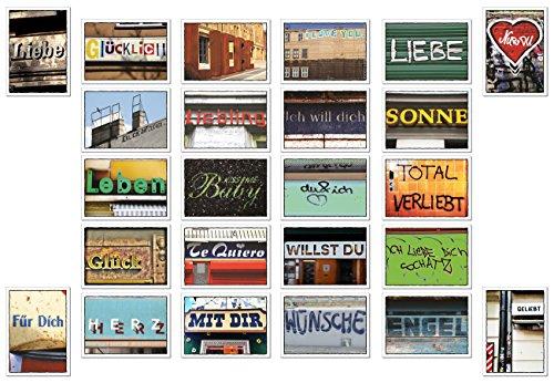 tom bäcker Postkarten Set / Karten Mix – 24 Karten – ADVENTSKALENDER – Liebe – Hochzeit – Hochzeitsspiel – Leben – Herz – Jahrestag – Sprüche – Worte – Typografie – Sprache –