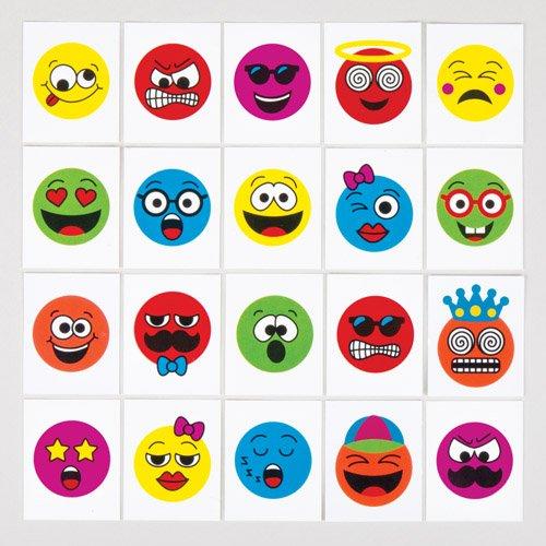 Tatouages temporaires visages rigolos pour enfant - Jouets parfaits pour les pochettes-surprises des enfants (Lot de 24) 5051174075269