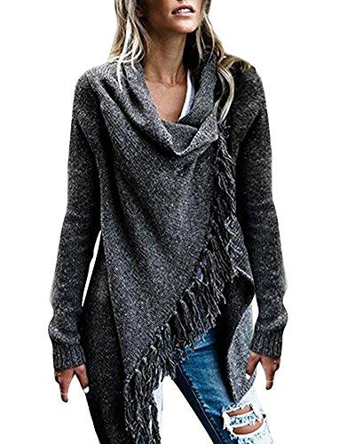 Minetom donne maglione cardigan poncho mantelle irregolari manica lunga sciallato asimmetrico nappina lavorato a maglia chic elegante a grigio scuro it 44