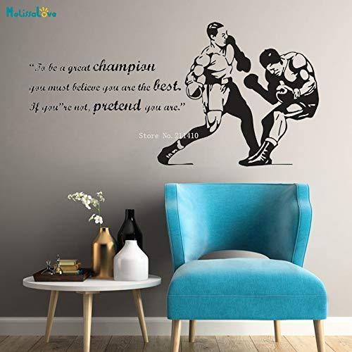 Yyoutop Boxing Quote Sie müssen glauben DASS Sie die besten Wandaufkleber Abziehbilder Boxhandschuhe Sport Wettbewerb Poster Vinyl Decor 3 56x28cm sind