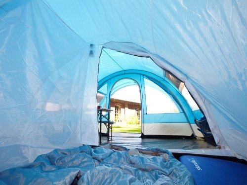 skandika Helsinki 6 Personen Familien-Zelt blau, wasserdicht durch starke 5000 mm Wassersäule. Großes, geräumiges und robustes Outdoor Camping-Zelt, Tunnel-Zelt mit großem Vordach, Insekten-Netzen und über 2 m Stehhöhe -