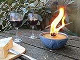 Kerzenfresser Keramik, Kerzenrestefresser, Outdoor, zum Schmelzen von Wachsresten, Tischfackel, Kerzen Recycling, Gartenfackel, aquamarin, ca. 14x7 cm, mit windfestem Dauerdocht, reine Handarbeit