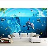 Pbldb Unterwasserwelt Marine 3D Wallpaper Custom Mural Foto Glacier Marine Delfine Malerei 3D Wandbilder Wallpaper Für Wände 3 D Wohnzimmer Wohnkultur-400X280Cm
