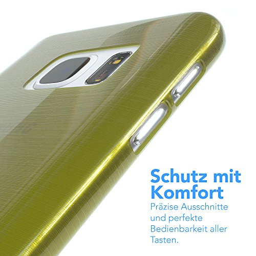 "EAZY CASE Handyhülle für Samsung Galaxy S7 Hülle - Premium Handy Schutzhülle Slimcover ""Brushed"" Aluminium Design - TPU Silikon Backcover in brushed Hellblau Brushed Grün"