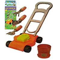 KIDS PLASTIC TOY GARDENING LAWNMOWER PLAY SET RAKE TROWEL FORK TOOLS OUTDOOR FUN