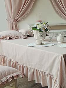 nappe romantique shabby chic 150x300 volant 65 coton 35 lin poudre rose. Black Bedroom Furniture Sets. Home Design Ideas