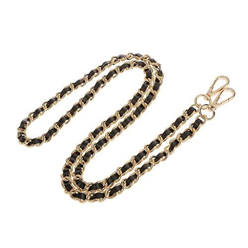 Schultergurt Umhängetasche Silber überzogene Kette PU-Leder Braid Ersatz Schultergurt für DIY-Geldbörsen Handtaschen - Gold + Schwarz, one size