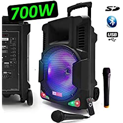 "Enceinte Karaoké Baffle Mobile 700W Sono Active DJ PA 12"" Autonome Batterie à LED RVB + 2 Micros VHF + Fil USB/SD/Bluetooth - LedWood Boostar1400"