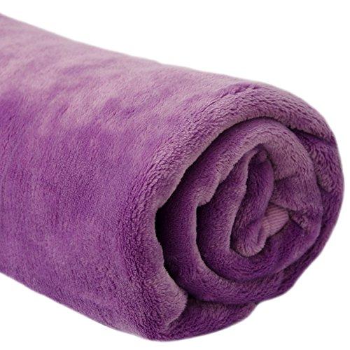 DuneDESIGN Manta Oslo 140x200cm de microfibra 100% poliéster 300g/m² | Frazada Cubrecama suave ligera de felpa pelo corto | Púrpura