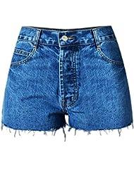 Wgwioo Street Fashion Haute Taille Slim Short Denim Pour Femme Nightclub Vacation Beach Club