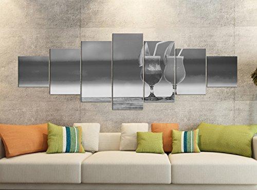 Leinwandbilder 7 Tlg 280x100cm schwarz Cocktail Strand Meer Glas Küche Leinwand Bild Teile teilig Kunstdruck Druck Wandbild mehrteilig 9YB1836, Leinwandbild 7 Tlg:ca. 280cmx100cm (Sieben Meere-cocktail)