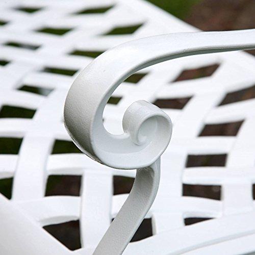 Lazy Susan – GRACE Gartenbank aus Aluminium, Weiß (Beiges Kissen) - 8