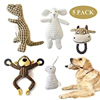 KONKY Squeaky Dog Toys 5 Pack Toys Set, Dog Plush Toy, Durable Chew Toys, Various Animals Shapes Dog Toy for Puppy Small Medium Large Dogs - Monkey, Dinosaur, Sheep, Rabbit and Bull