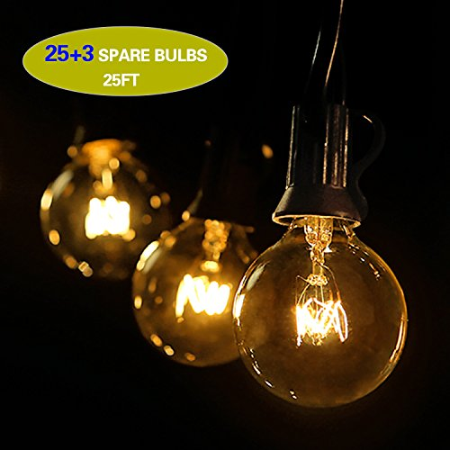 0 Lichterkette Draussen, Wasserdicht Lichterketten Für Weihnachtsbeleuchtung, Garten, Party, Balkondekor (25 Birnen+ 3 Ersatzbirnen) (Party City Anwendungen)