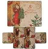Set 6 Fröhliche Weihnachten Vintage Weihnachtsmann Korken Tischsets & Untersetzer