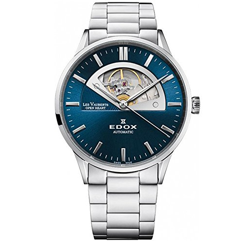 Edox Les Vauberts 85014 - Reloj analógico automático para hombre, 43 mm, 3 m, diseño de corazón abierto