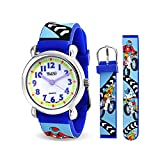 Boys Blue Dirt Bike Sports Kids Watch Stainless Steel Back