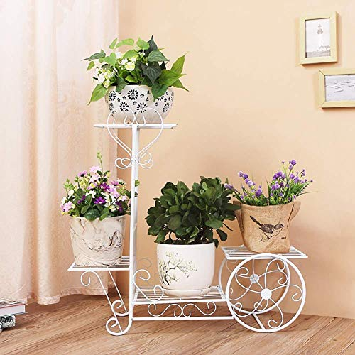 lili Schmiedeeisen-Blumenständer Grünes Blumentopf-Regal Startseite Bodentyp Wohnzimmer Balkon Innen- Und Außencafé Stufe Blumenständer,White-1wheel -