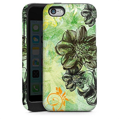 Apple iPhone 5s Housse Étui Protection Coque Fleurs Fleurs Ornements Cas Tough brillant