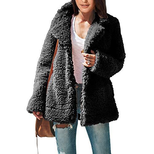 YTFAIFEN Damen Mantel Herbst und Winter, dick, warm, europäisch und amerikanisch, groß, einfarbig, locker, langärmelig, einreihige Jacke, Frauen 5