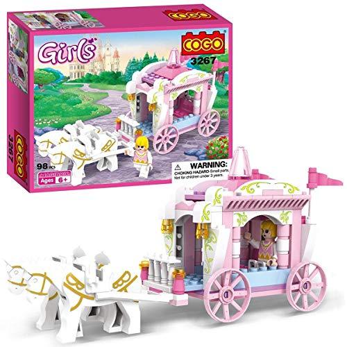 Unbekannt COGO Mädchen Prinzessin Wagen Bausteine für Mädchen Prinzessin Spielzeug Mädchen Bauklötze Verbindungsbau Ziegel Prinzessin Blocks Gebäude Geschenk 98pcs-3267