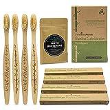 Bambus Zahnbürsten und Kokosnuss Aktivkohle - 4er Set Ökologische Holzzahnbürsten sowie Aktivkohle Pulver für Zahnaufhellung (Activated Charcoal Teeth Whitening) ♻ Vegan BPA-frei