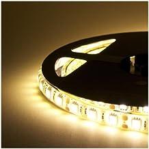 Striscia LED Resistente all'acqua - 5 Metri - 72W - SMD5050 BIANCO CALDO - 300 LED - 3 Strisce