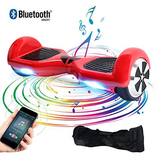 "BEBK Elektro Scooter, 6.5\"" Hoverboard, Self Balance Scooter mit Bluetooth Lautsprecher, 2 * 250W Motor, LED Lights (Red)"