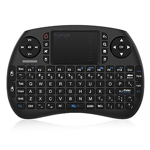 EgoIggo Mini Tastatur 2.4GHz Wireless drahtlose Mini Keyboard mit Touchpad-Maus, wiederaufladbarer Batterie für Smart TV, Android TV Box, PC, Mini PC, Laptop (QWERTY)