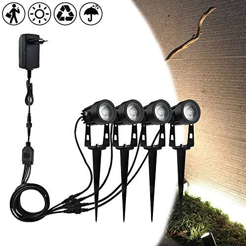 Froadp 4×5W Warmweiß 4 in 1 COB LED Gartenleuchte Rasen Licht mit Erdspieß Beleuchtung Strahler Wasserdicht IP65 für den Außenbereich Garten mit EU-Stecker