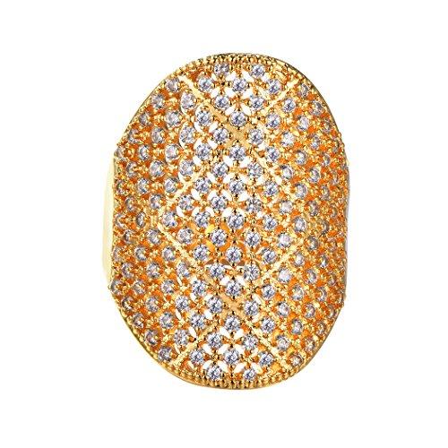 Suplight Bague Femme Plaqué Or Simple Alliance Large Bijoux Fantaisie Serte de Zirconium Cubique pour Jeune Fille Accessoire de Mariage Fiançaille Soiré Taille 57 (Doré)