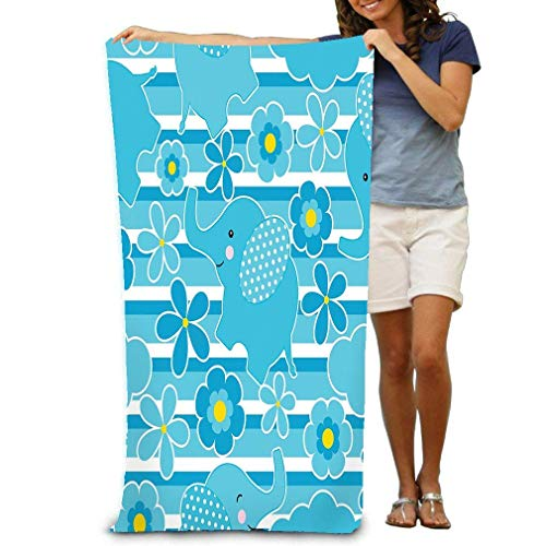 Beach Towel Soft Quick Dry Lightweight High Absorbent Pool Spa Towel for Men Women 31 X 51 Inch Baby Shower Cute Elephant Flowers Stripes Background Suitable Wallpaper Scrap Paper Postcard Drawing -