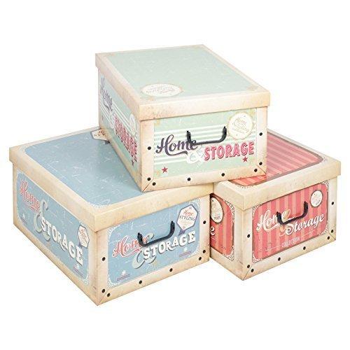 3 Underbed Collapsible Cardboard Storage Boxes Lightweight With Lids U0026  Handles (Vintage Storage Boxes)