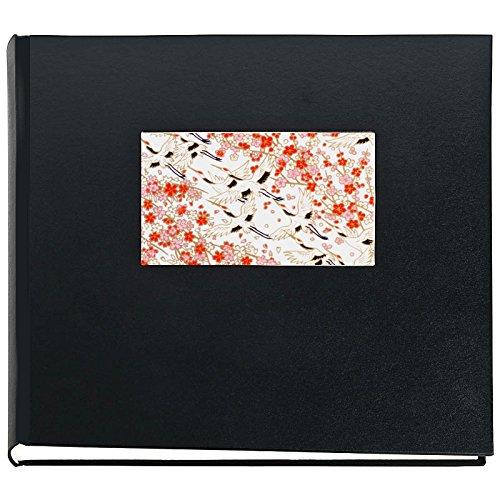 Japan Fotoalbum TSURU Buchalbum Schwarz mit Yuzen Japanpapier japanische Kraniche 50 Seiten 30 x 30...