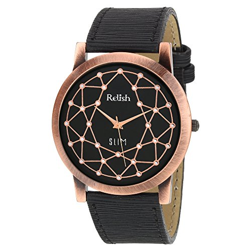 RELISH RE-C8038CB Copper Case Black Dial Analog Watch For Mens & Boys