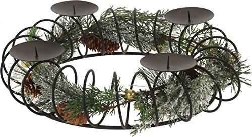 Advents Kerzenhalter Metall für 4 Kerzen, 37cm Durchmesser, schwarz inklusive Dekoration