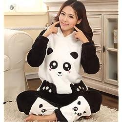 MH-RITA Otoño Invierno pijamas de franela engrosamiento mujer dormir hembra Coral Fleece Cartoon Pajama establece adorable oso panda negro,Salón,M