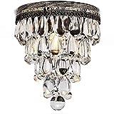 AnhängerKristall Deckenleuchte Minimalistisches Einkopf Retro Kristall Atmosphäre Deckenlampe Vintage Eisen Loft Villa Balkon Treppen Deckenleuchte E27 Max 40W