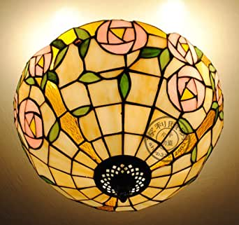 12-Inch Amour Pastorale Am¨¦ricaine Chambre Rose Lampes Plafond Chambre Plafonniers