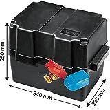 Batteriekasten mit Befestigungsgurt 340 x 230 x 250 mm /für Batterien 280 x 195 x 230 mm + Polklemme mit Schnellverschluss