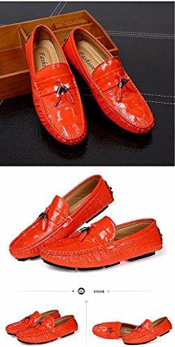 Chaussures En Cuir De Doug Coréen Blanchâtre Crocodile Paresseux Décontracté Chaussures Orange