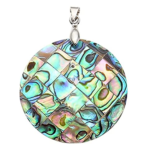JOVIVI Silver Plated Unwrapped Round Abalone Shell Pendant Bead Necklace