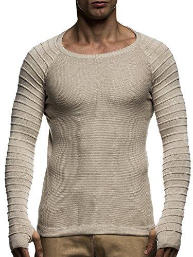 LEIF NELSON Herren Strickpullover Gesteppt Sweatshirt LN20714 Beige