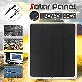 SinceY Chargeur Solaire USB 2.0 5V / 12V 20W Économie d'énergie Panneau Solaire pour téléphone Chargeur de Batterie de Camping en Bateau de Camping