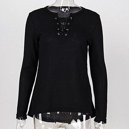 Meedot Femmes T-Shirt Tops Arrêtezvous Sweat-Shirt - Ladie Décontractée T-Shirts De Base Chemise Longue Manche Chemise Printemps L'Automne Hiver Chemisier Noir Rose blanc Beige S - XL Noir