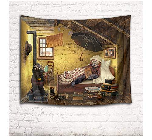 HYDDAXJW Vintage Bear Tapestry Log Cabin Dormitorio Desordenado Viejo Shabby Book Hat Toalla Paraguas Colgante De Pared 200X220Cm