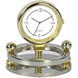 [Sponsored Products]Deals Outlet Shelf Clock Showpiece Made With Brass & Stainless Steel - Gold Plated Classic Table Watch With Silver Plated Fancy Round Base