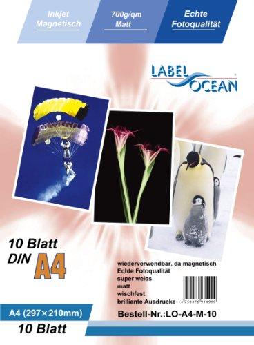 LabelOcean LO-A4-M-10 A4 Fotopapier magnetisch, Magnetpapier 10 Blatt matt