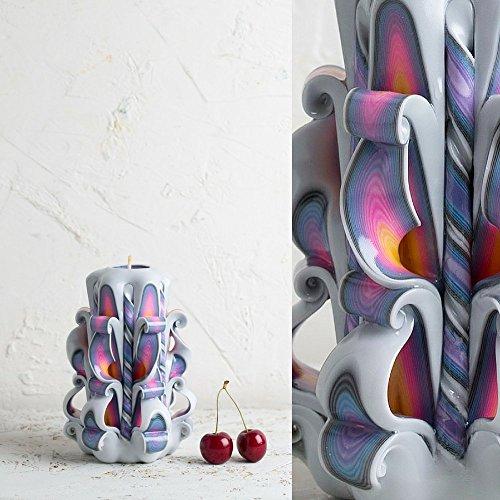 Vela hecha a mano del arco iris - Escultura Decorativa de Arcoíris Blanco Hecha a Mano - EveCandles