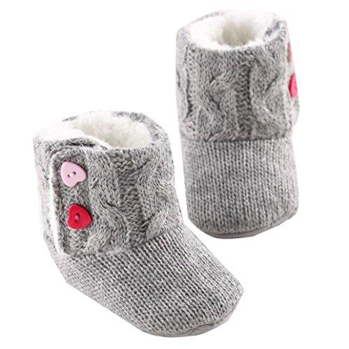 Tefamore Zapatos de niño Prewalker Invierno Soft Sole Crib Botones de botón caliente Boots de algodón para bebés (Tamaño: 11cm, 3-6 meses, Gris)
